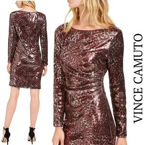 Vince Camuto NWT Leopard Sequin Long Sleeve Dress